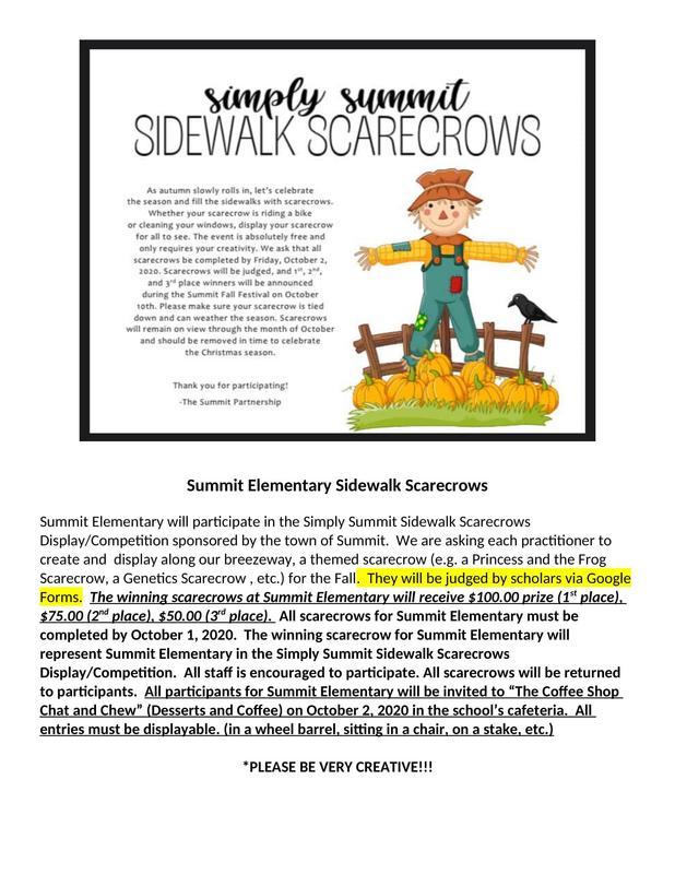Summit Elementary Sidewalk Scarecrow Display/Competition 2020