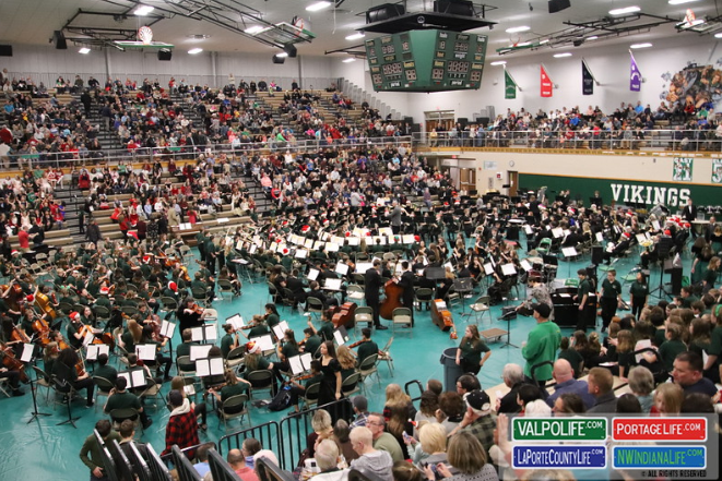 Valpo Bands and Choirs assembled for the 40th annual This is our Story.