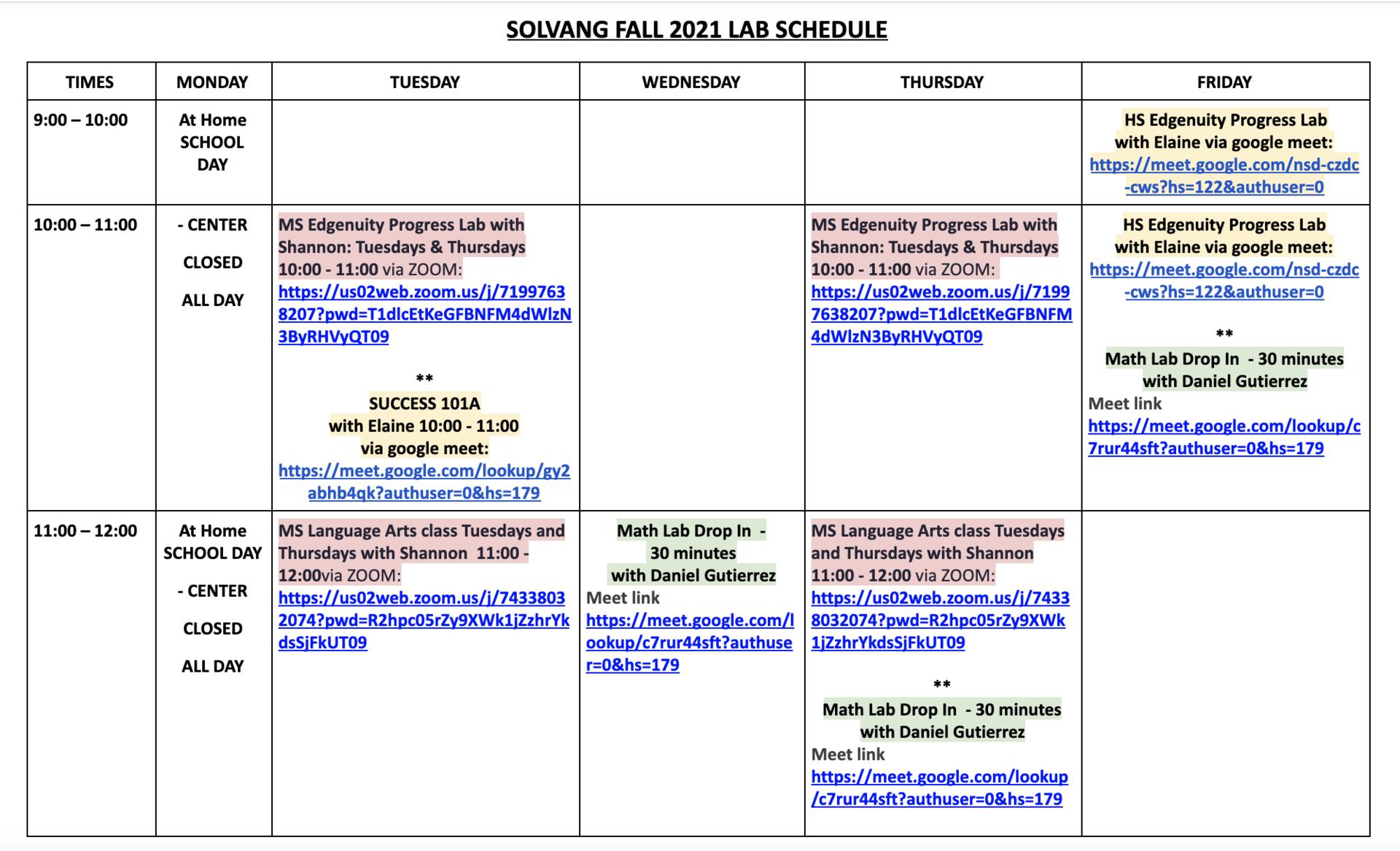 FPCS Solvang Schedule