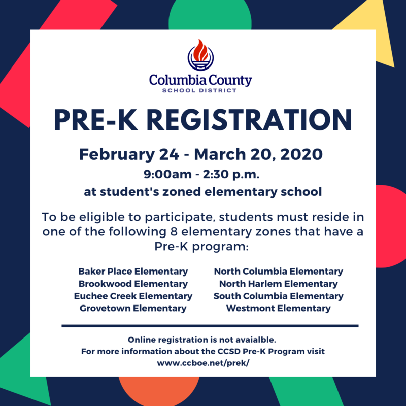 Pre-K Registration Informational flyer