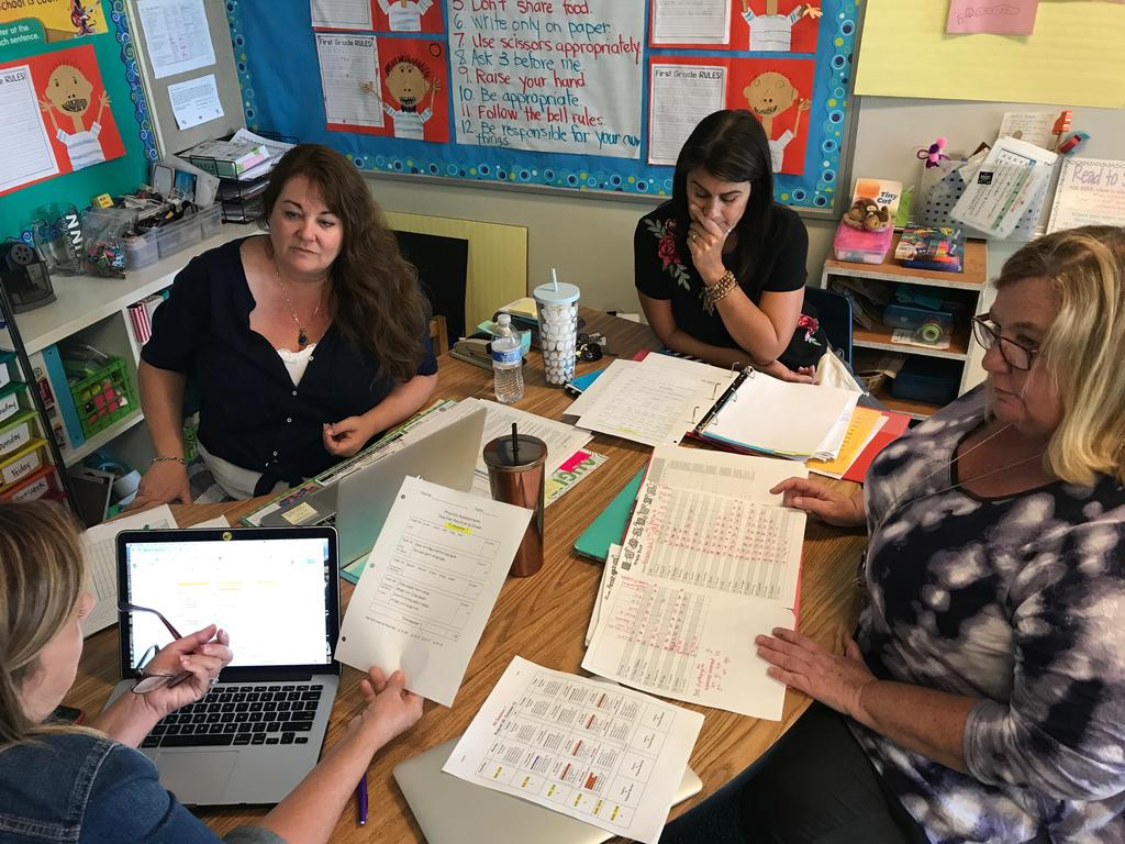First grade teachers working together