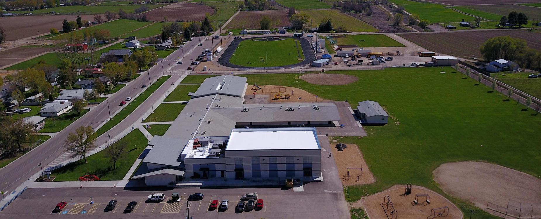 New Plymouth Elementary and Football Field/Track aerial view