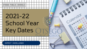 graphic with a calendar and pencil on it that says 2021-22 key dates