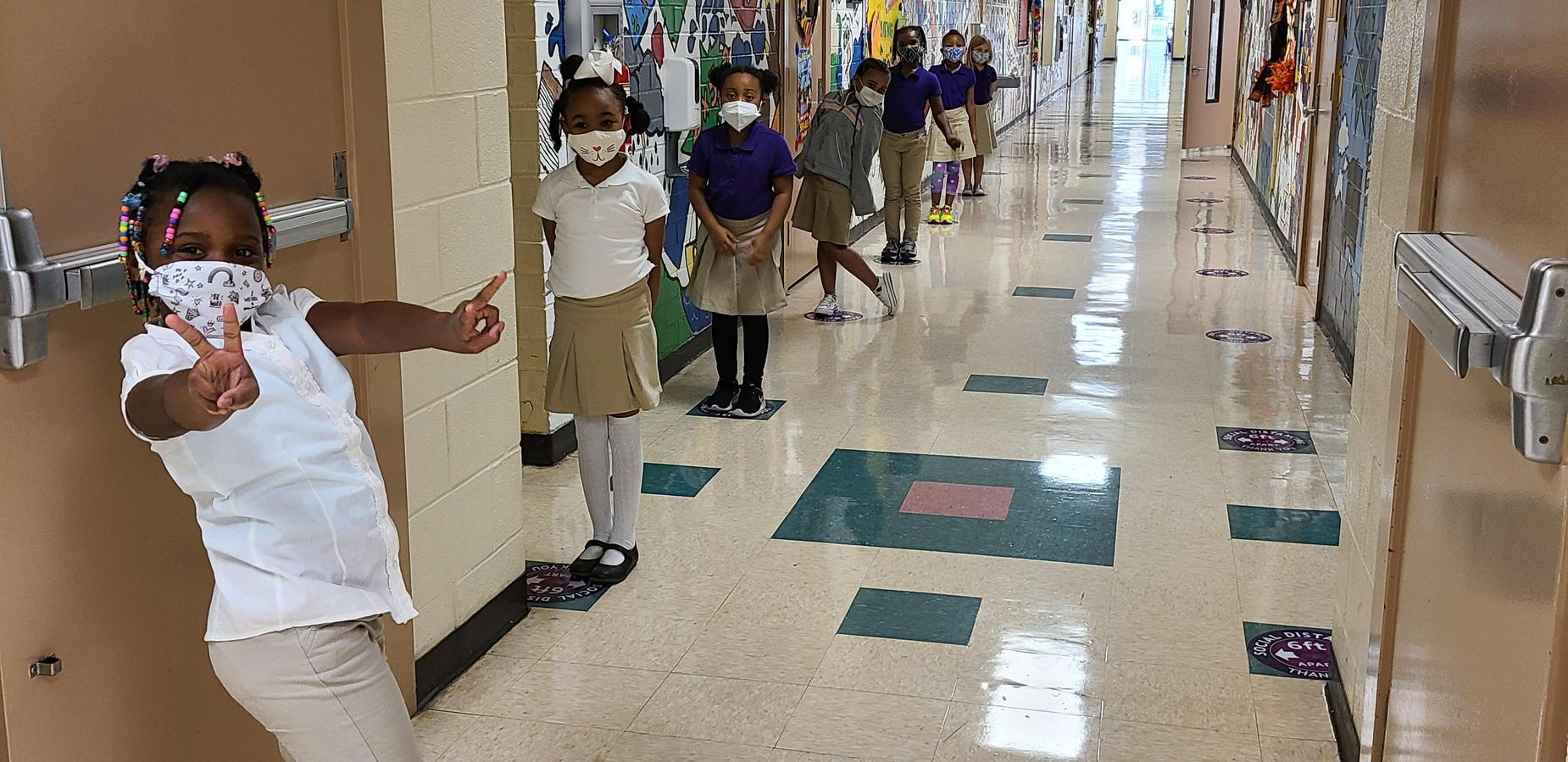 First graders lined up in the hallway.