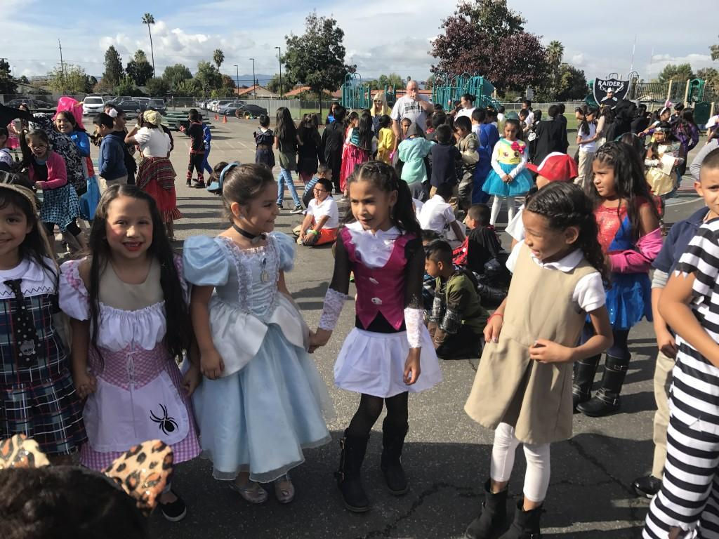 Students gathered in costume