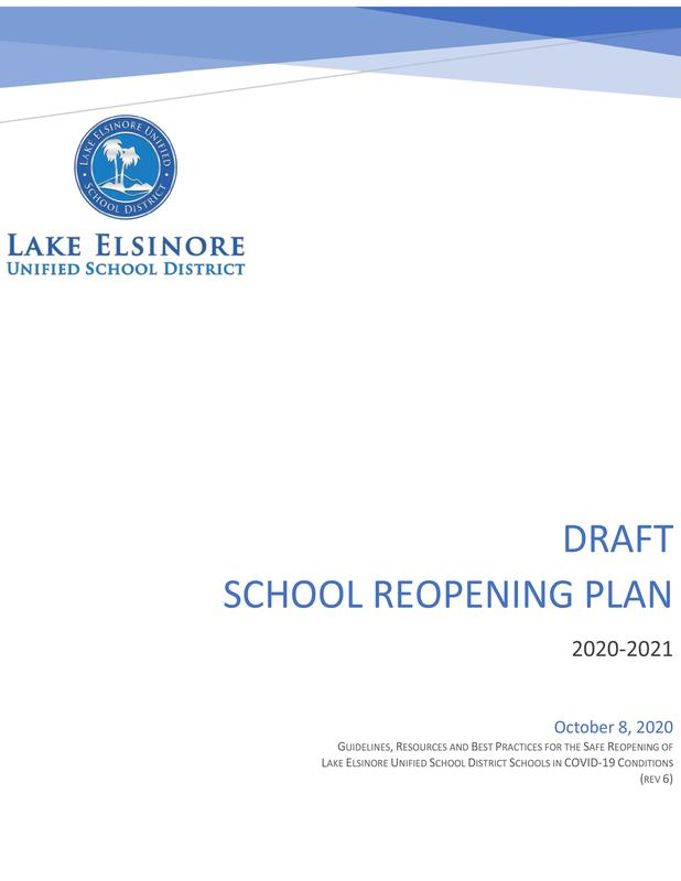 LEUSD cover art: draft School Reopening Plan 2020-21