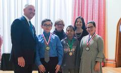 Governor John Bell Edwards presented the 2018 Governor's Office of Disabilities Affairs Inclusive Art Contest Awards to  Kalib H. (1st place), Washington Elementary School;  Emily G. (2nd place), Port Barre Middle School; Caleb F. (Honorable Mention), Port Barre Middle School   *Also pictured: Kathleen Guidroz, Teacher; Bambi Polotzola, Executive Director of Governor's Office of Disabilities Affairs