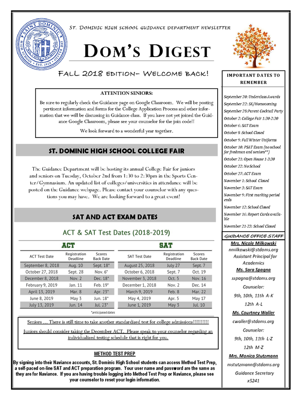 Dom's Digest - Guidance Department Newsletter (Fall 2018 Edition) Featured Photo