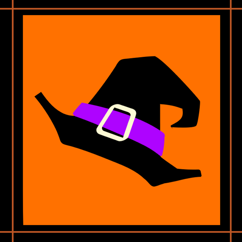Clip art, witch's hat with purple ribbon