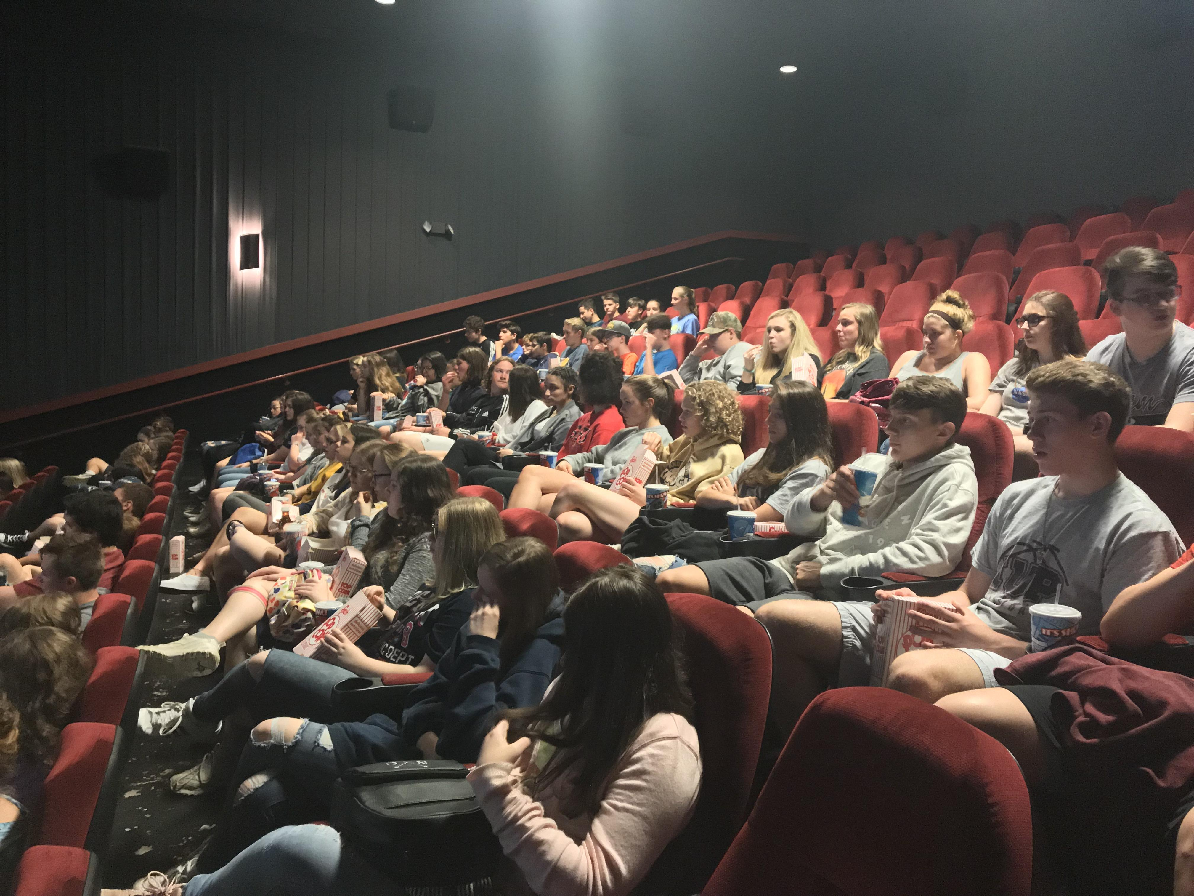 Picture of Freshmen at movie theater