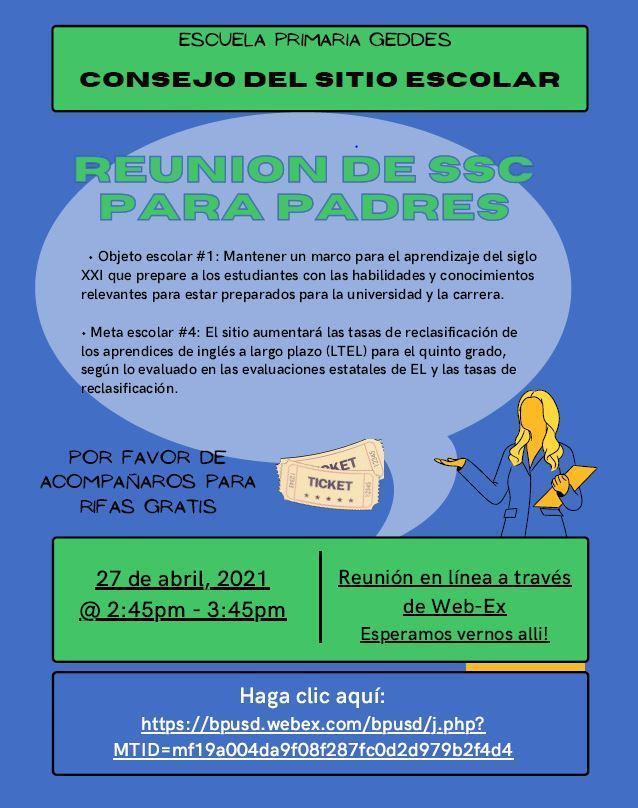 SSC Parent Meet 4/27 SPA