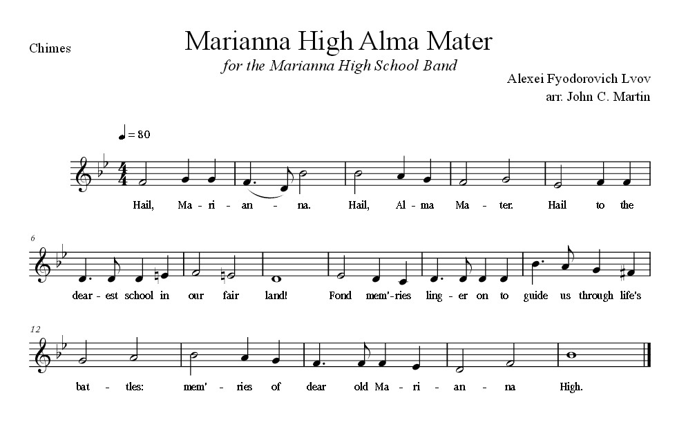 Sheet Music for Alma Mater for the Chimes