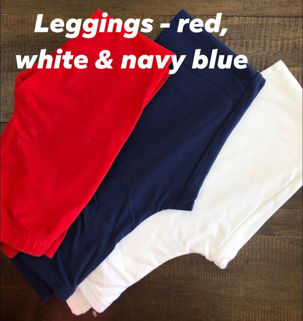 Leggings in red, white, and blue