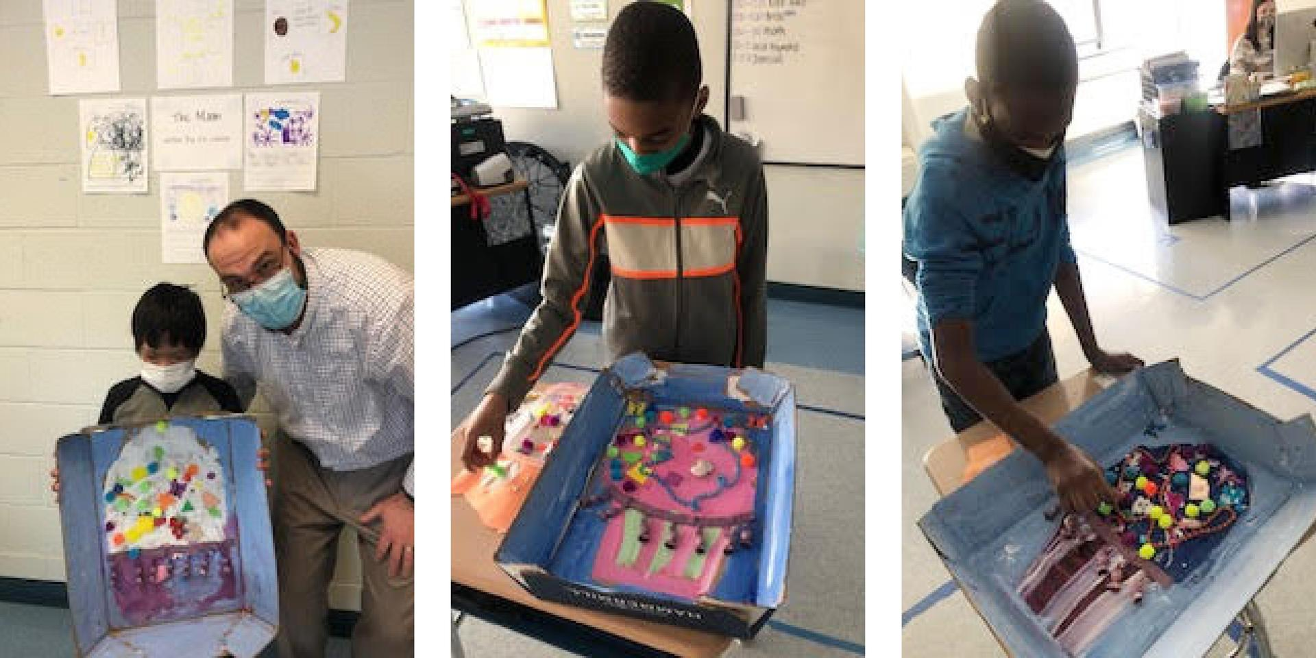 Three-tile photo, students working on art projects