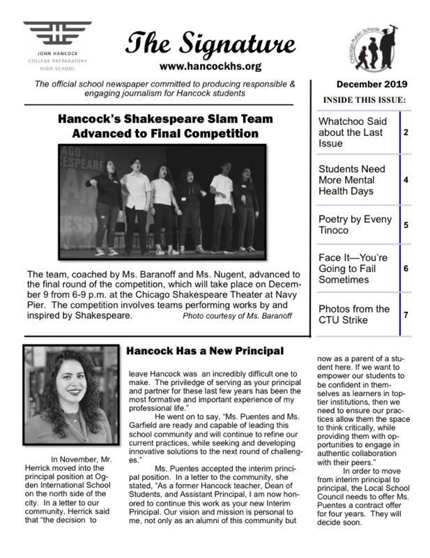December issue of the school paper