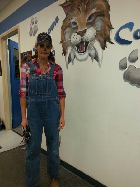 Staff member in Scarecrow costume