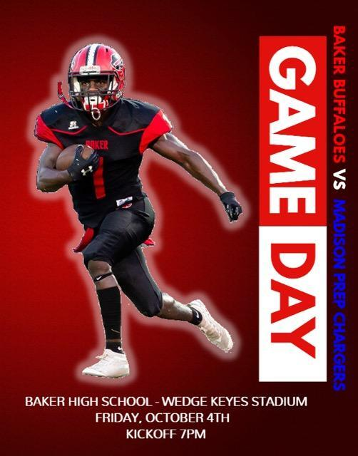 a poster that says Game Day advertising Baker vs Madison Prep