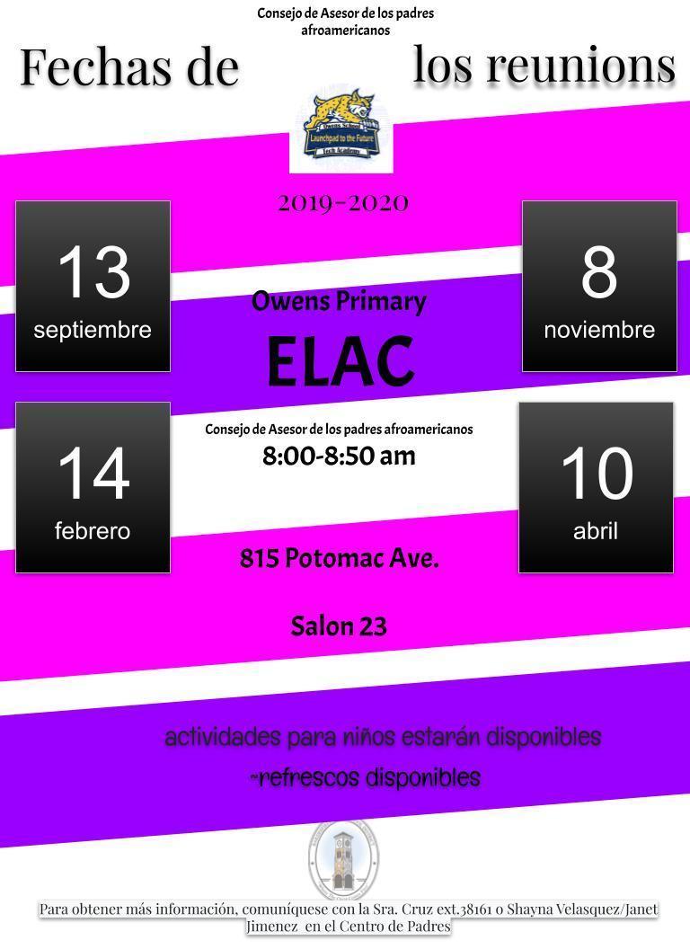 English Learner Advisory Committee Dates Spanish