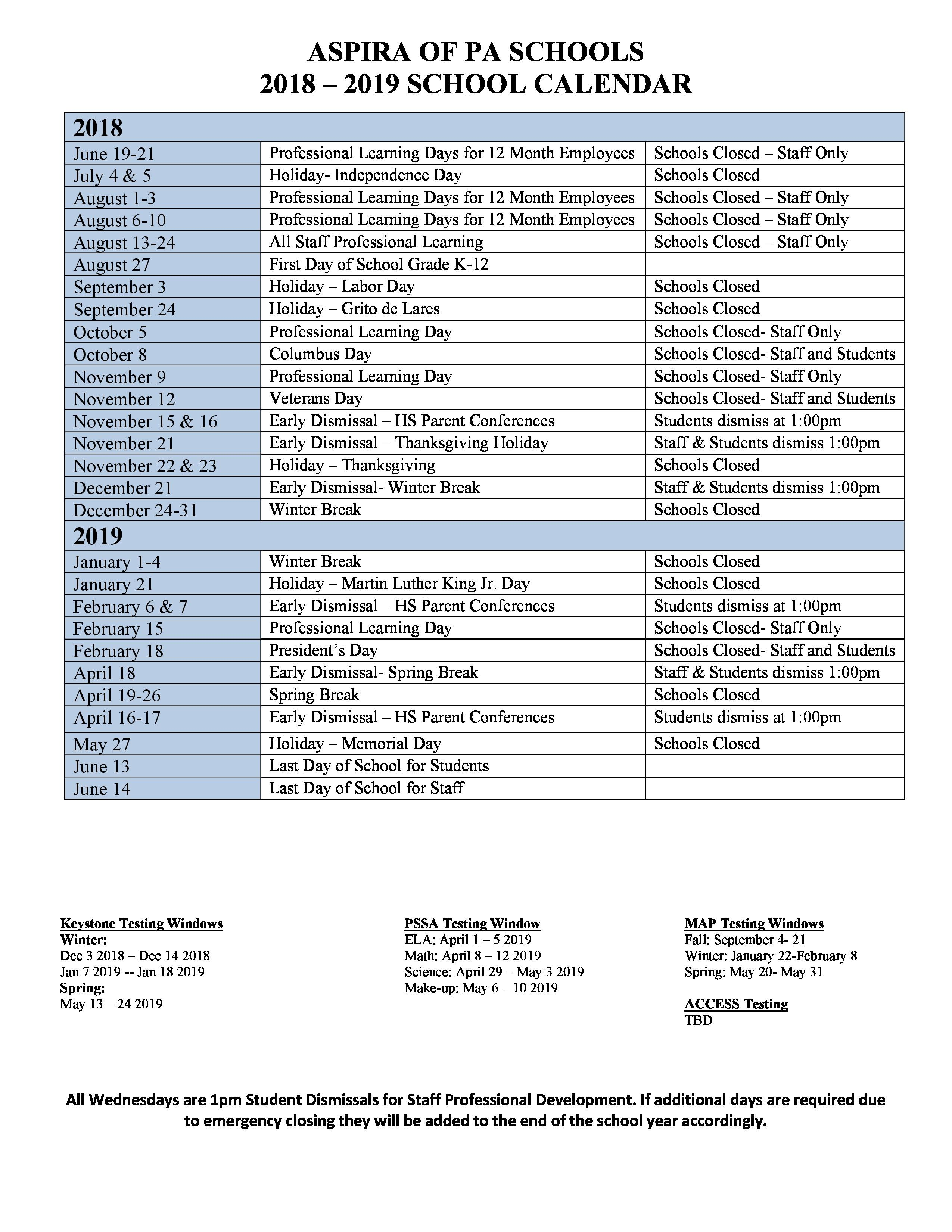 School Year Calendar – Parents – Olney Charter High School