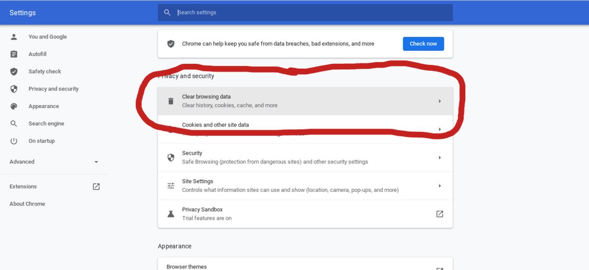 Screen shot of the setting menu selecting Clear browsing data