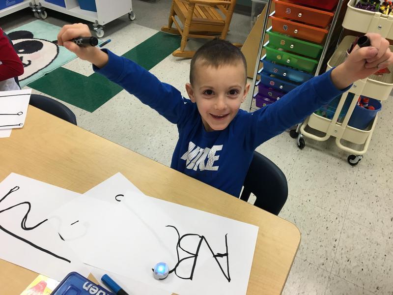 Kindergarten Student Using Ozobot