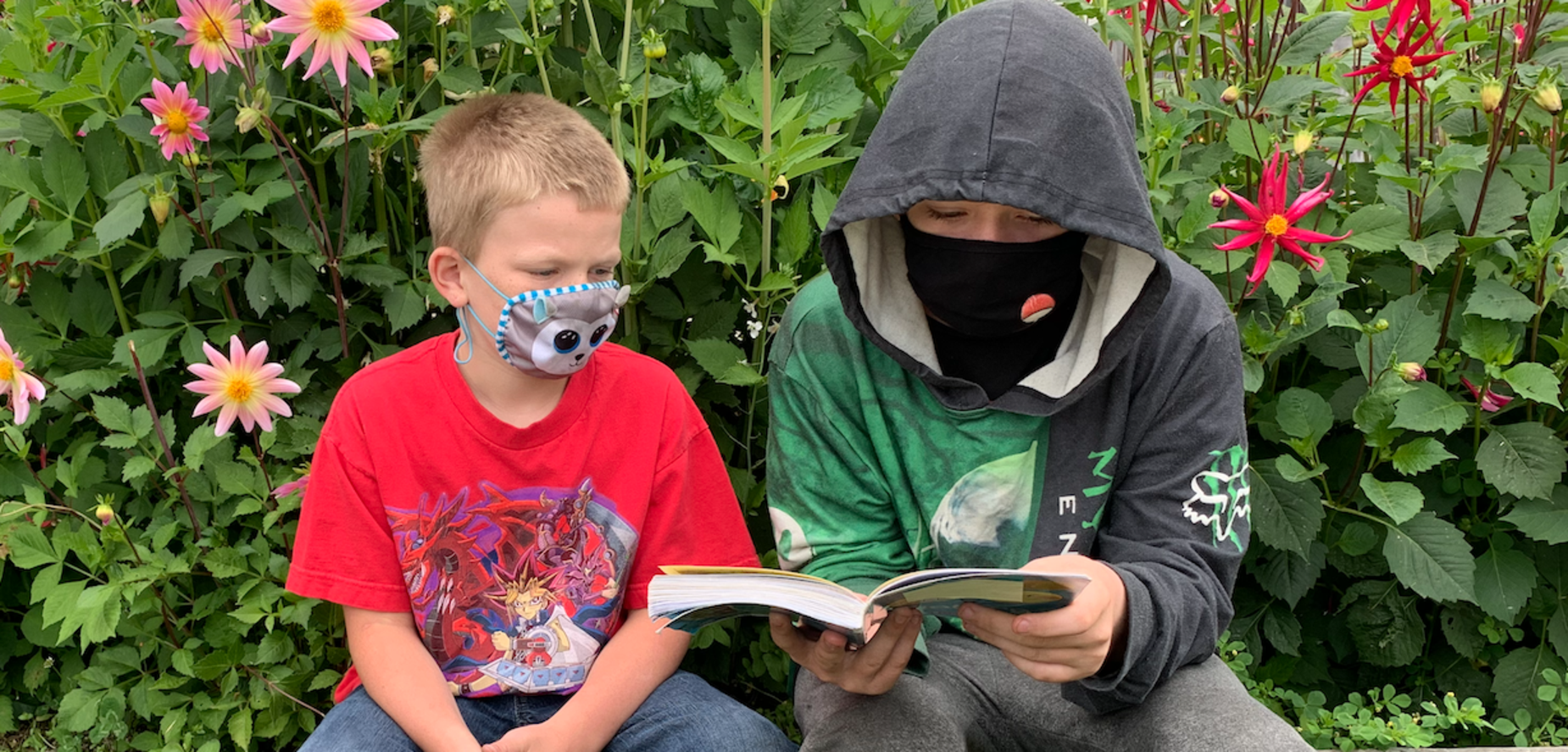 Boys reading in front of dahlias