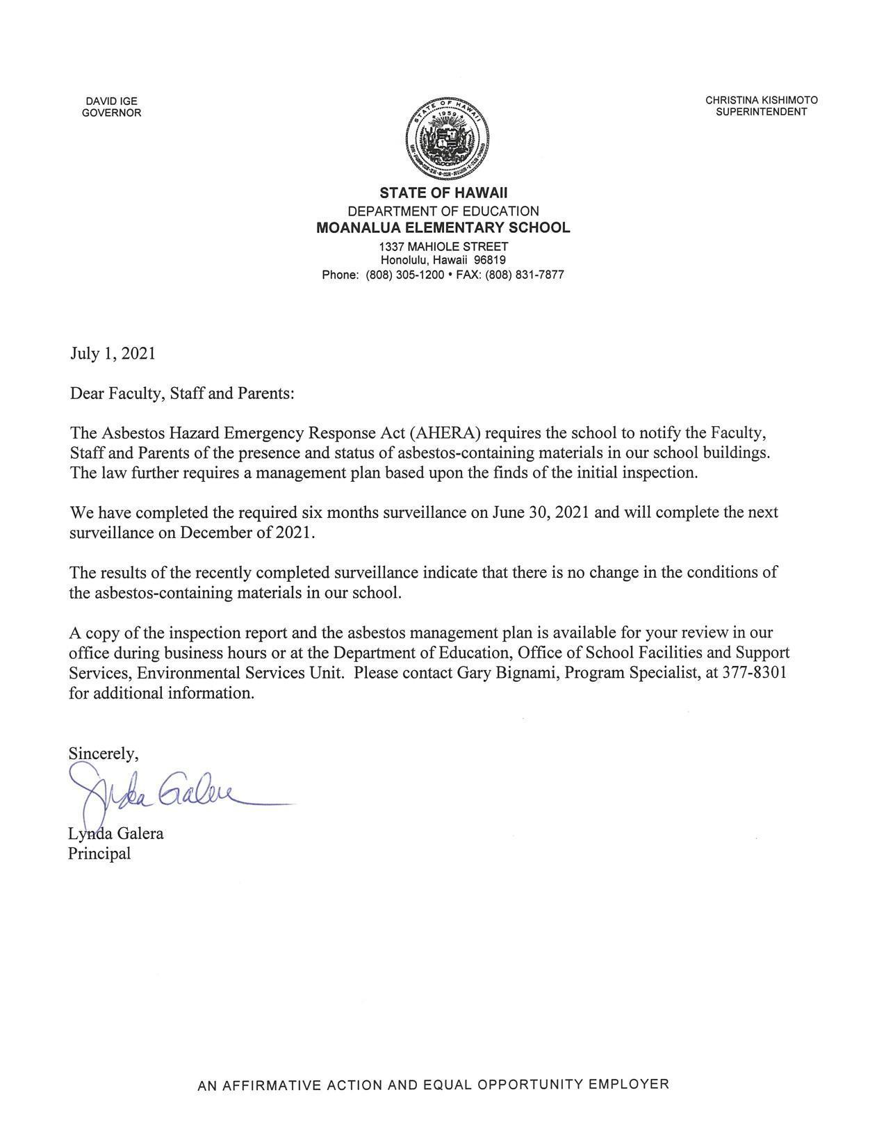 Asbestos Hazard Emergency Response Act letter