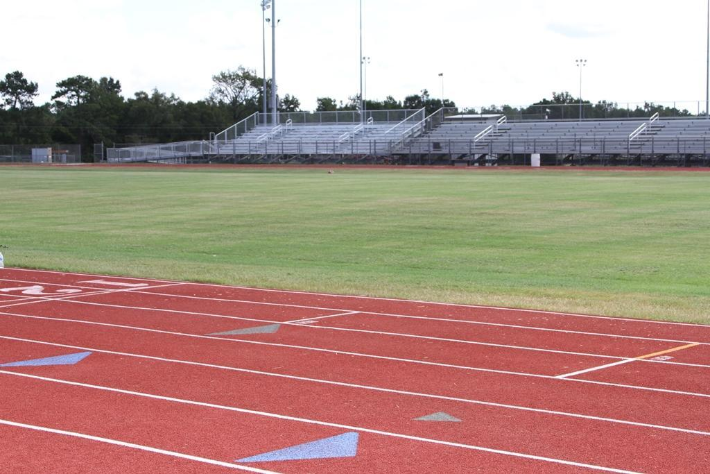 Completed visitor side bleachers