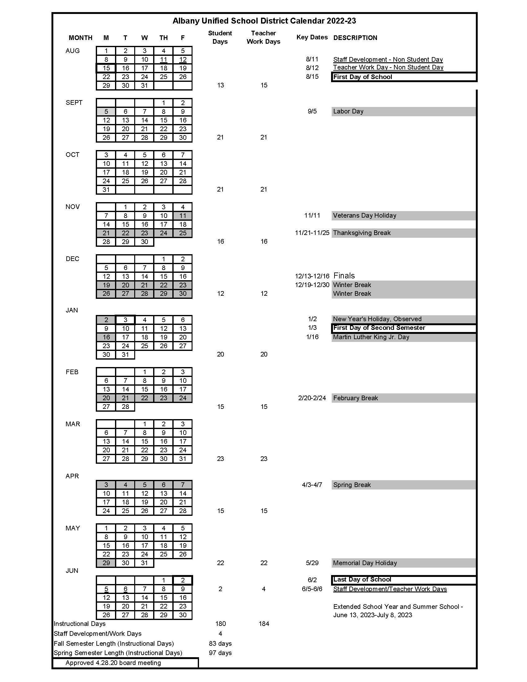 Cornell 2022 23 Calendar.2022 2023 School Year Calendar Academic School Year Calendars Albany Unified School District