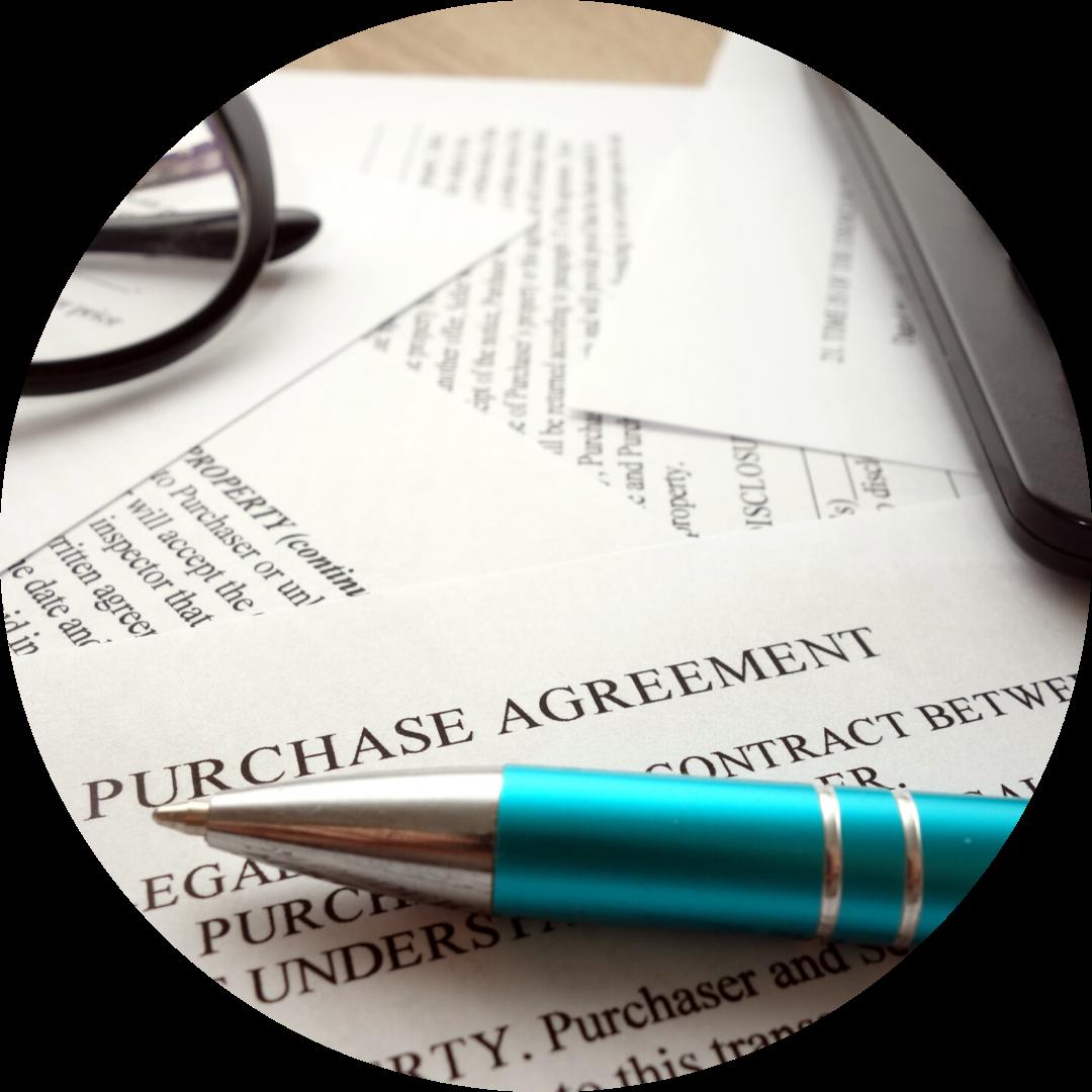 contract, pen, glasses & calculator