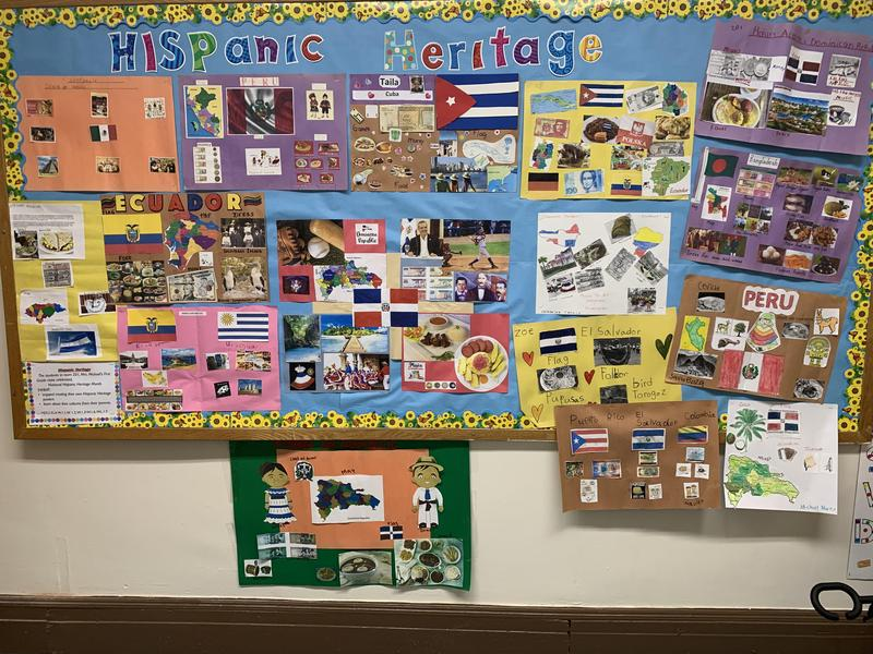 Hispanic culture collage projects on bulletin board