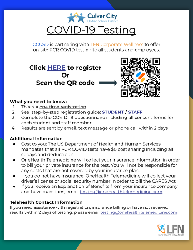 STUDENT'S & STAFF- REGISTER FOR WEEKLY COVID TESTING Featured Photo