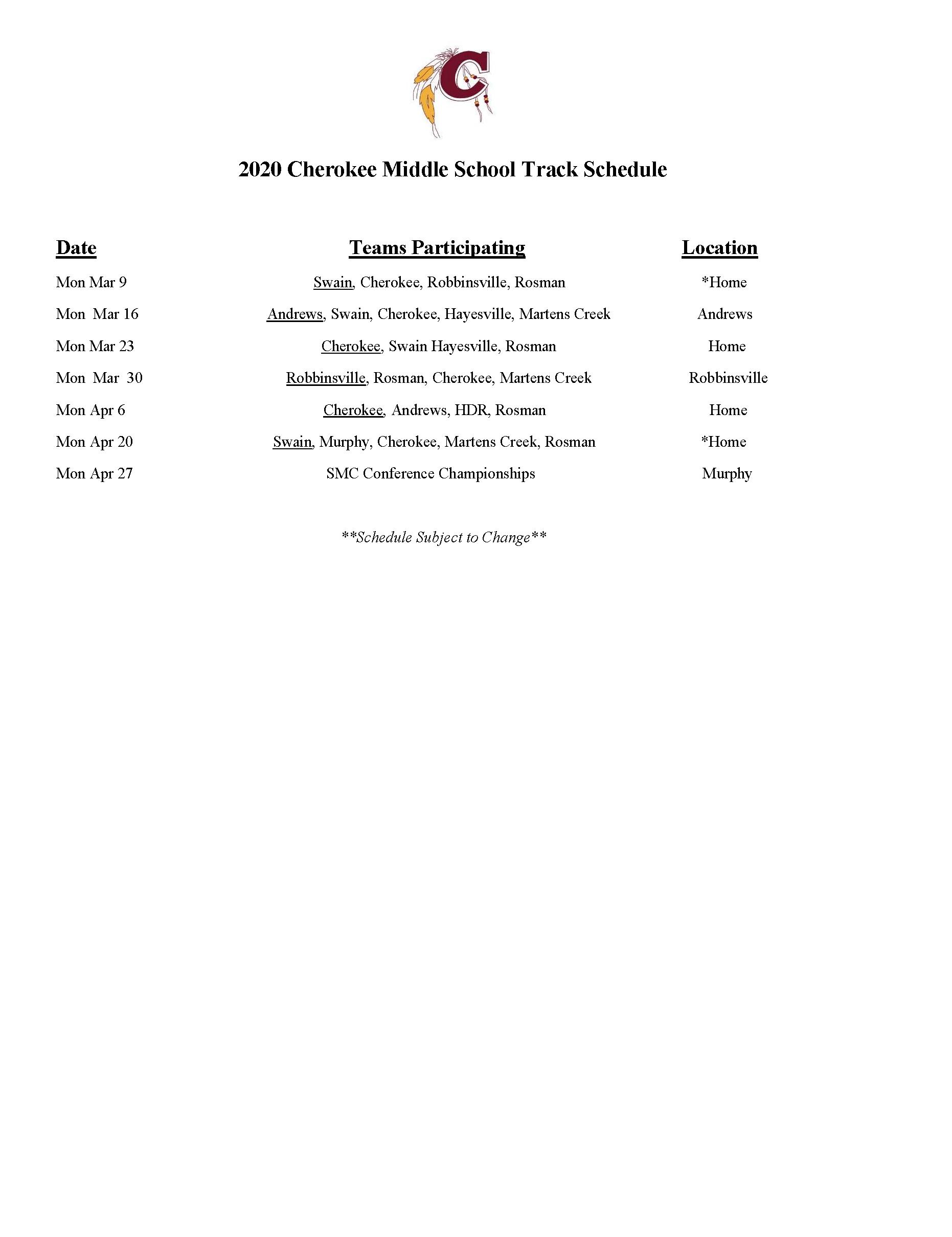 CMS Track 2020 Schedule
