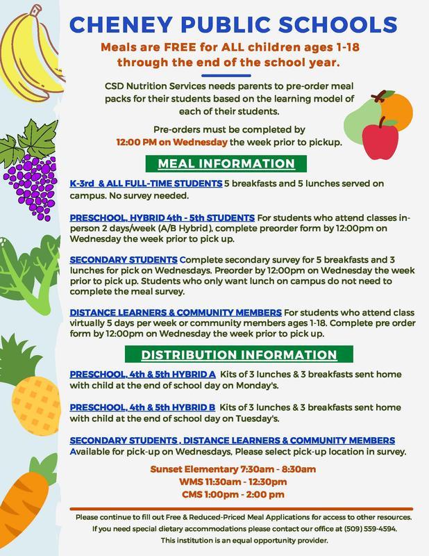 k-12 meal information