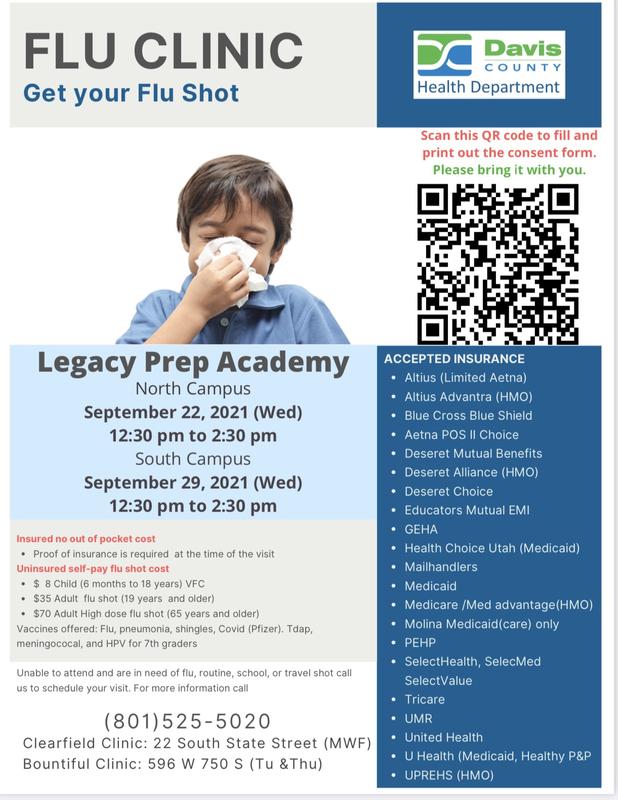 Flu Clinic Legacy Preparatory Academy woods cross utah best school in utah