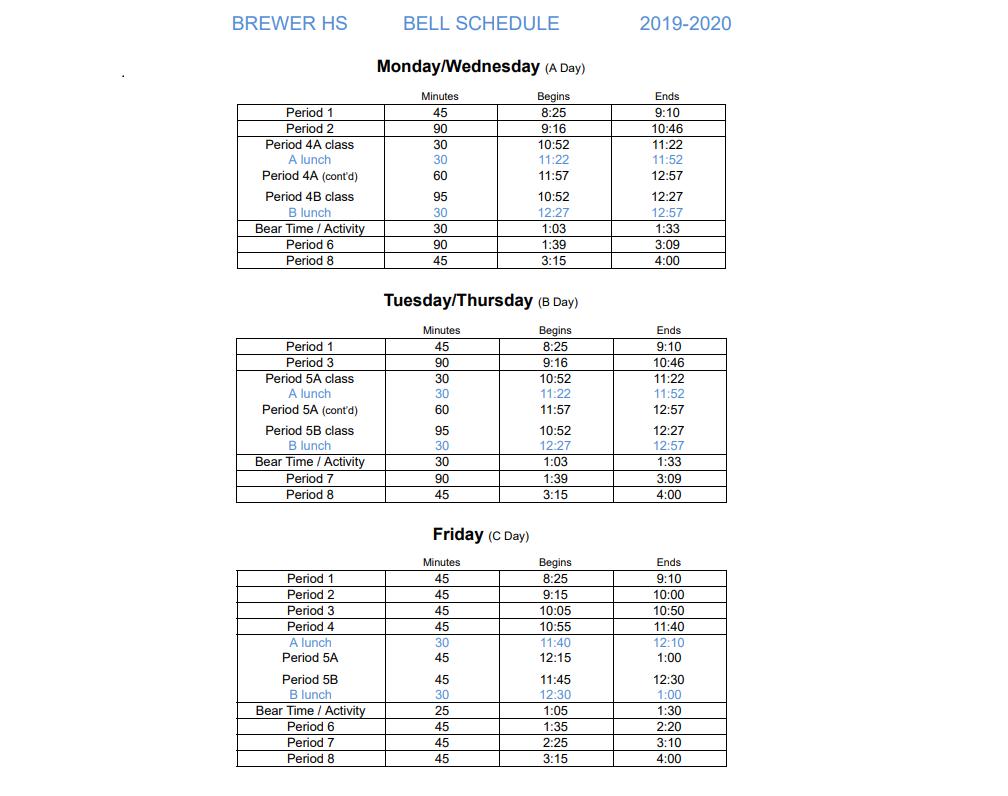 19-20 Bell schedule