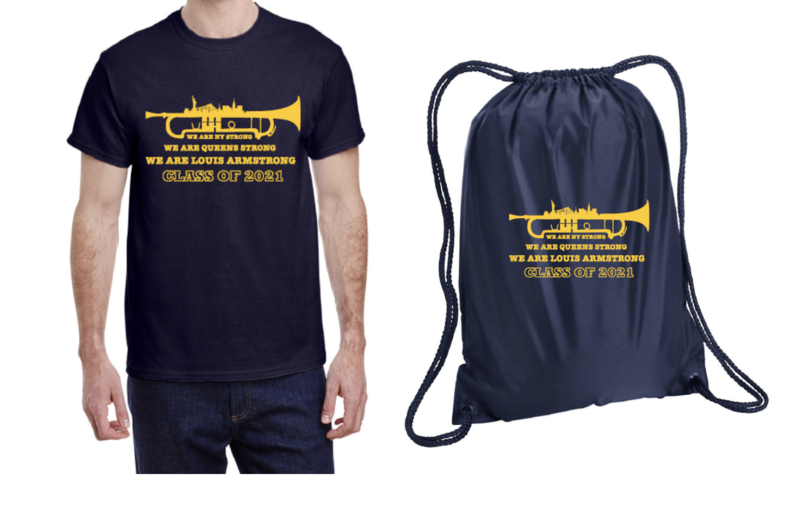 T-shirt and Bag Sample in blue and yellow.