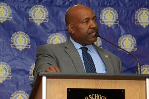 Bakersfield Police Chief, Lyle Martin, addresses Principal Partners Day attendees