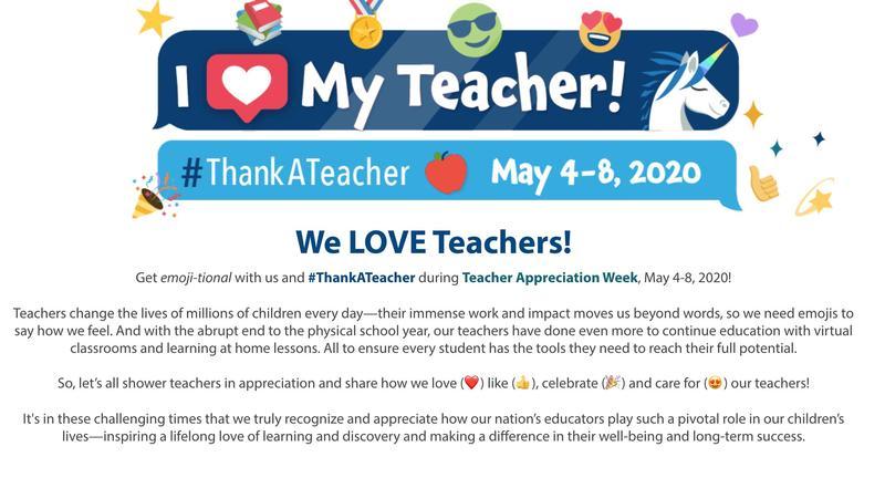 Teacher Appreciate Week: May 4-8, 2020