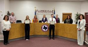 March students of the month with Board of Trustees and administration