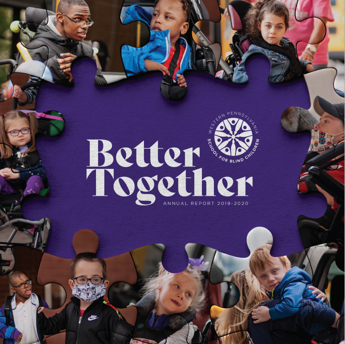 Front cover of Annual Report, a collage of student photos in the shape of puzzle pieces.