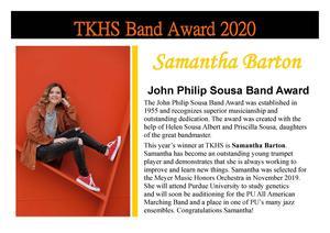 Samantha Barton received the John Philip Sousa Award.