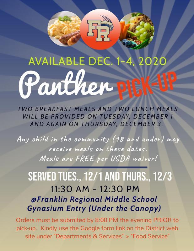 Panther Pick-Up Dec. 1-4, 2020