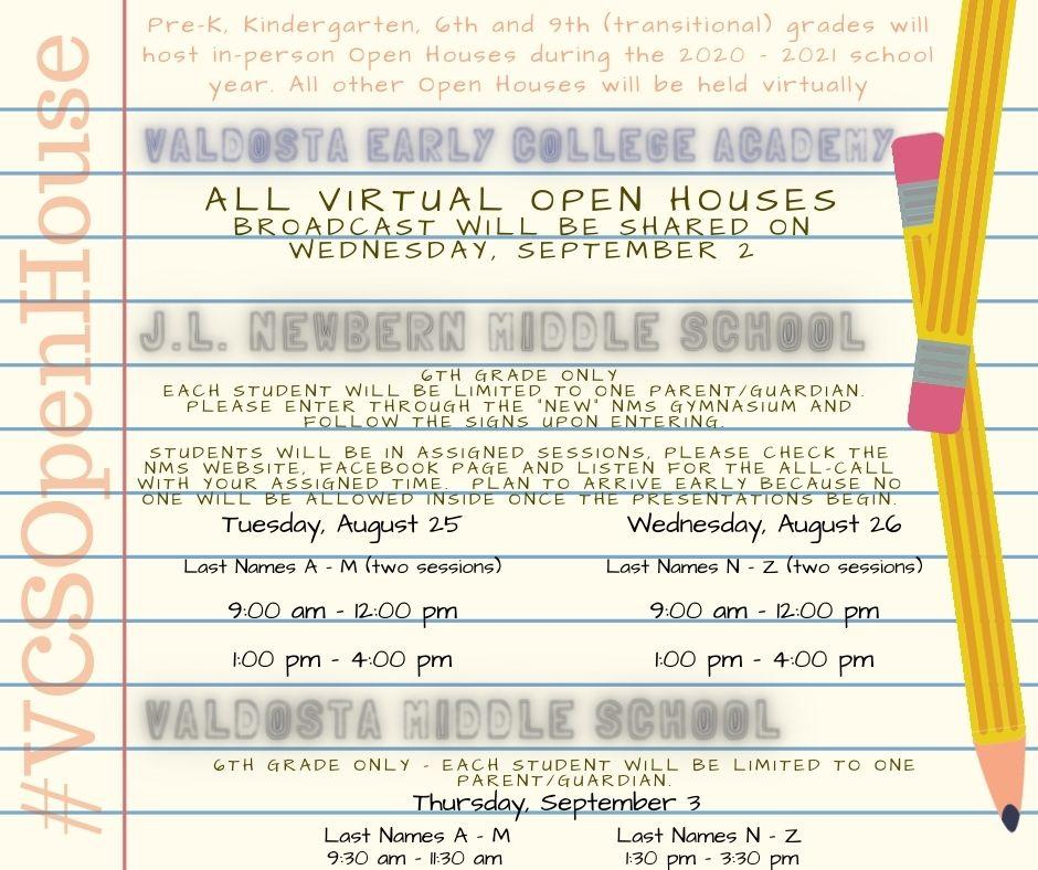 Middle School Open Houses