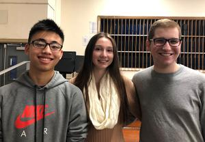(L-R) Senior Kevin Li and junior Brooke Walden will perform with the 2019 All-Eastern Honors Orchestra next April in Pittsburgh. Senior Matthew Siroty will sing with the All-Eastern Honors Chorus.