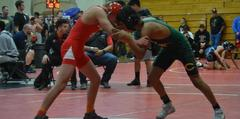 Wrestlers competing at a match in Sanger