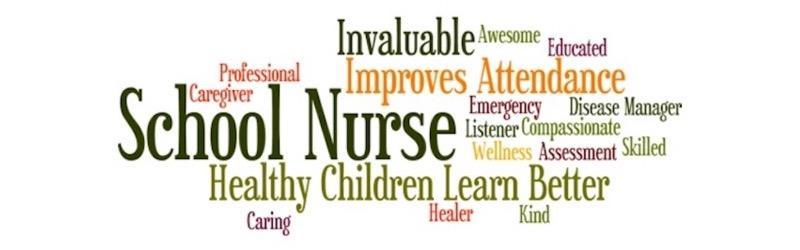 Header graphic containing words related to what school nurses do.