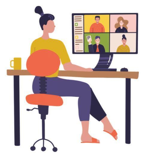 Adult watching a virtual meeting on her computer.