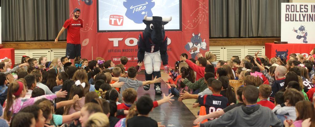 Houston Texans mascot Torro visits students