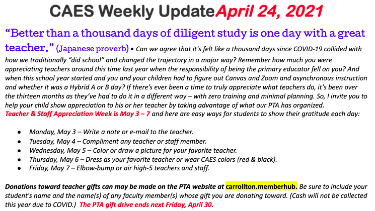 Screenshot of April 24 Weekly Update
